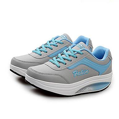 Confort Primavera 05246669 Con Rosa Otoño Azul Plataforma de Semicuero Negro Mujer deporte Zapatos Zapatillas Media plataforma Cordón UqSIS4f