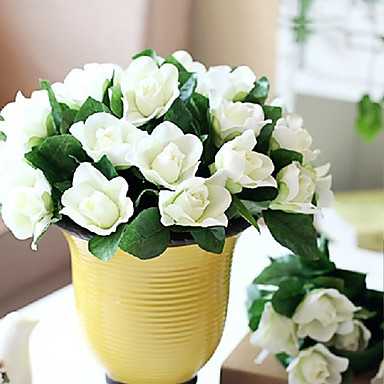 1 Ramo Poliéster Gardênia Flor de Mesa Flores artificiais