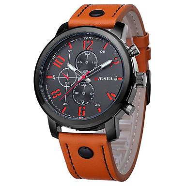 Hombre Reloj de Pulsera Reloj Casual / / Piel Banda Encanto / Moda Negro / Marrón / Acero Inoxidable / Jinli 377