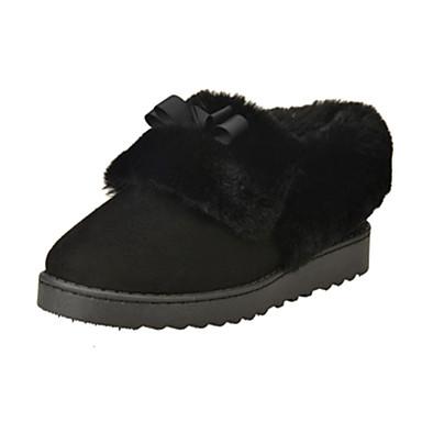 Støvler-Pels Mikrofiber-Snowboots-Dame-Sort Brun-Fritid-Flad hæl