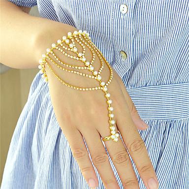 Damen Perle Ketten- & Glieder-Armbänder / Wickelarmbänder - Personalisiert, Modisch Armbänder Golden Für Party / Alltag
