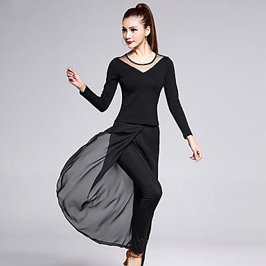 Latin dans Outfits Dames Opleiding Chiffon Katoen Tule Melkvezel Split Voorzijde 2-delig Lange Mouw Natuurlijk Top Broeken