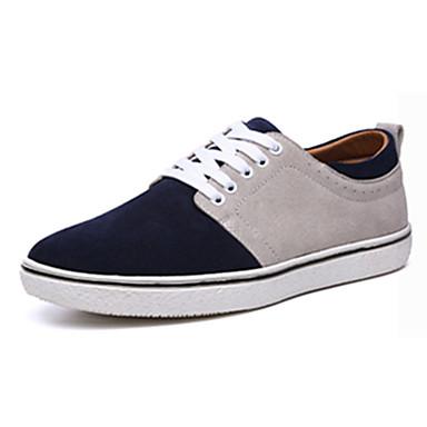 Homens sapatos Pele Primavera Outono Conforto Oxfords para Casual Cinzento Vermelho Azul