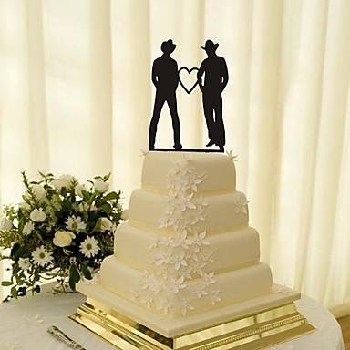Decorações de Bolo Tema Clássico Mesmo Sexo Acrílico Casamento com Flores 1 Caixa de Ofertas