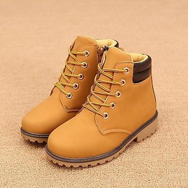 Para Meninas sapatos Couro Ecológico Primavera Outono Botas de Montaria Botas Cadarço Para Casual Preto Verde Rosa claro Verde Escuro