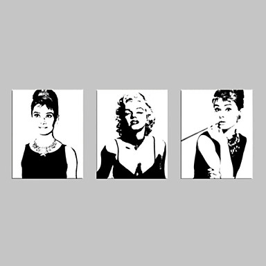 billige Trykk-Trykk Valset lerretskunst - Mennesker Romantik fritid Tre Paneler Kunsttrykk