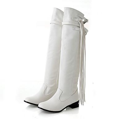 Mulheres Sapatos Courino Inverno Botas da Moda Botas Salto Robusto / Salto de bloco Branco / Preto / Marron