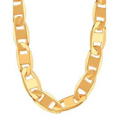 Homens / Mulheres Cadeia Figaro Colares em Corrente - Chapeado Dourado Fashion Dourado Colar Para Festa, Diário, Casual