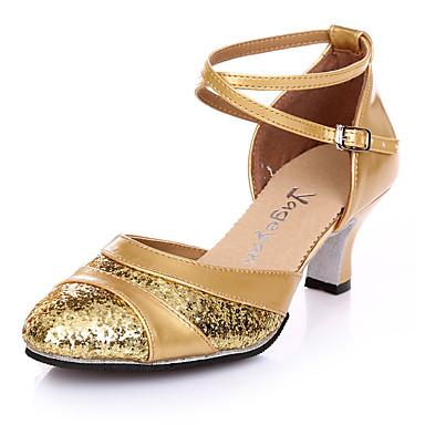 Damer Latin Læder Hæle Træning Spænde Stilethæle Sølv Gylden 2