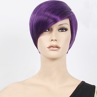 synthetische per cken glatt stil kappenlos per cke lila purpur synthetische haare damen lila