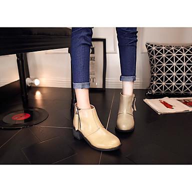 Feminino Sapatos Couro Ecológico Outono Inverno Botas de Montaria Botas Salto Robusto Salto de bloco Para Casual Preto Amêndoa