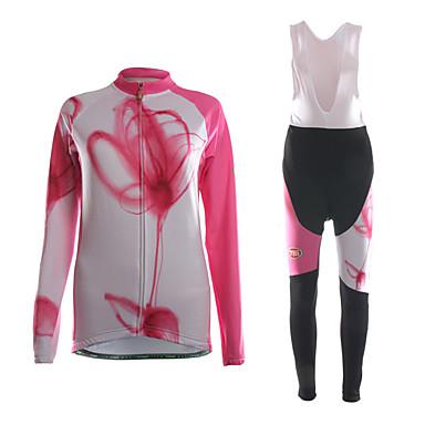 TVSSS Damen Langarm Fahrradtrikot mit Trägerhosen - Schwarz Patchwork / Klassisch / Blumen / Pflanzen Fahhrad Kleidungs-Sets, 3D Pad,