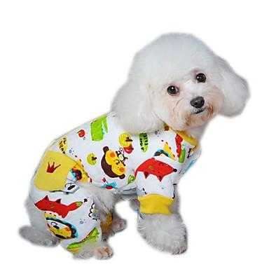 Hund Jumpsuits Pyjamas Hundetøj Tegneserie Gul Rød Blå Polarfleece Kostume For kæledyr Herre Dame Afslappet/Hverdag