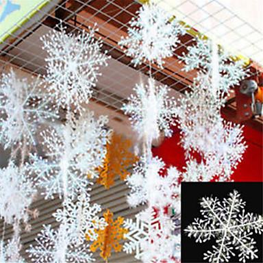 povoljno Holiday Decorations-30pcs božićno snijeg pahuljice bijela pahuljica ukrasi praznik božićno drvce decortion festival stranke