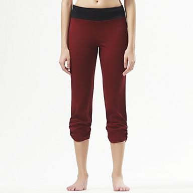 Yogabukser Knælange Tights Åndbart Bekvem Naturlig Strækkende Sportstøj Sort Bourgogne DameYoga Pilates Træning & Fitness Fritidssport