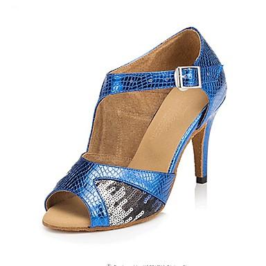 Mujer Zapatos de Baile Latino / Zapatos de Salsa Lentejuelas / Semicuero Sandalia / Tacones Alto Hebilla Tacón Personalizado / Interior