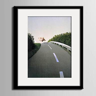Landschap Ingelijst canvas / Ingelijste set Wall Art,PVC Materiaal Zwart Inclusief passepartout met Frame For Huisdecoratie Frame Art