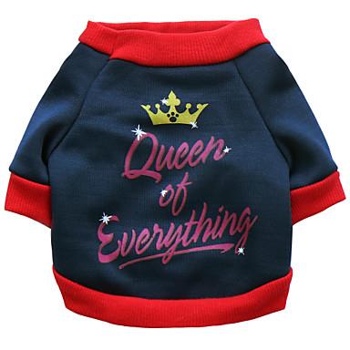 Kat Hund T-shirt Hundetøj Bogstav & Nummer Mørkeblå Bomuld Kostume For kæledyr Herre Dame Hold Varm Mode