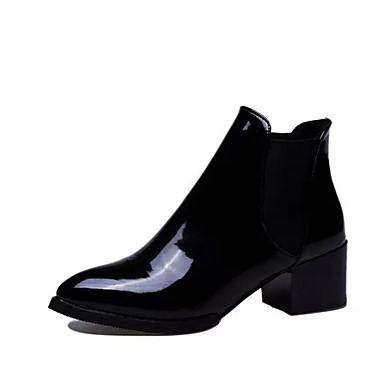 Damer Støvler Militærstøvler PU Efterår Vinter Afslappet Militærstøvler Tyk hæl Sort Bourgogne 2,5-4,5 cm