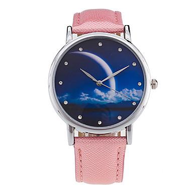 Mujer Reloj de Pulsera Cuarzo Digital Fase lunar Cool Piel Banda Analógico Encanto Vintage Caramelo Negro / Blanco / Verde - Rosa Verde Rosa