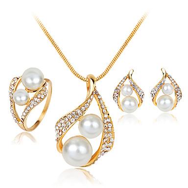 Damen Perle / Künstliche Perle / Strass Schmuck-Set Haken / Ohrringe / Halsketten - Modisch Weiß Schmuckset Für Hochzeit / Party