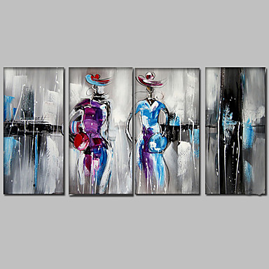 Hang malte oljemaleri Håndmalte - Mennesker Middelhavet Moderne Med Ramme / Fire Paneler / Stretched Canvas