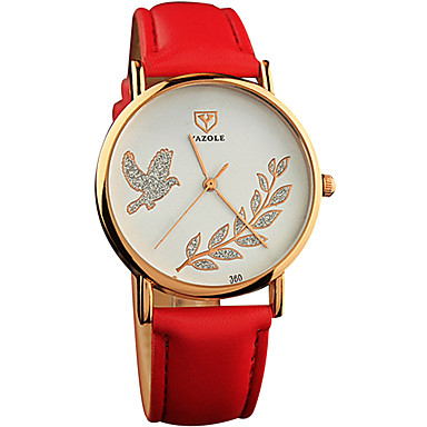 YAZOLE Dames Modieus horloge Polshorloge Vrijetijdshorloge / Kwarts PU Band Cool Vrijetijdsschoenen Zwart Wit Rood Bruin