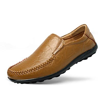 Heren Schoenen Leer Lente Herfst Comfortabel Loafers & Slip-Ons Voor Causaal Zwart Geel Bruin Blauw Khaki