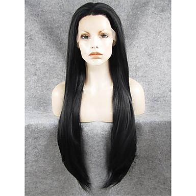 Syntetisk blonder foran parykker Dame Rett Syntetisk hår Naturlig hårlinje / Midtskill Parykk Lang Blonde Forside Svart Oransje