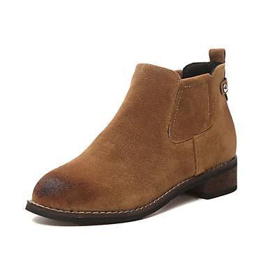 Støvler-Stof PUDame-Sort Brun Grøn-Fritid-Flad hæl