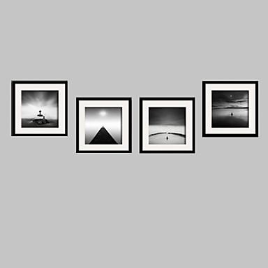 Landschap / Stilleven / Mensen Ingelijst canvas / Ingelijste set Wall Art,PVC Zwart Inclusief passepartout met Frame Wall Art