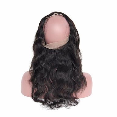 Peruviansk hår 360 Frontal Krop Bølge Hårvever med menneskehår 4 deler 0.37