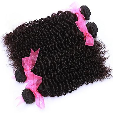 Cabelo Humano Cabelo Peruviano Cabelo Humano Ondulado Encaracolado Weave Curly Extensões de cabelo 4 Peças Preto