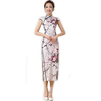 Tradisjonell Dame Kjoler A-Line Dress Blyantkjole Cosplay Blomstret Kortermet Lang Lengde