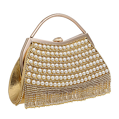 Women's Bags Polyester Evening Bag Rhinestone / Pearls Black / Silver / Red