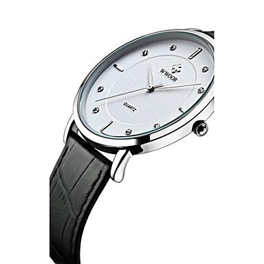 WWOOR Hombre Reloj de Pulsera Cuarzo Cuarzo Japonés 30 m Resistente al Agua Cool La imitación de diamante Cuero Auténtico Banda Analógico Moda Reloj de Vestir Negro - Negro / Azul Negro / Plata