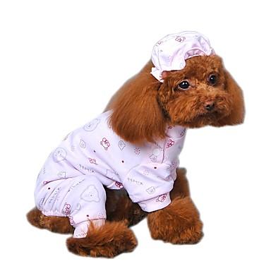 Kat Hund Jumpsuits Pyjamas Hundetøj Tegneserie Gul Blå Lys pink Bomuld Kostume For kæledyr Herre Dame Sødt Afslappet/Hverdag