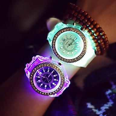 Damen Armbanduhr LED / leuchtend / Nachts leuchtend Silikon Band Glanz / Freizeit / Modisch Schwarz / Weiß