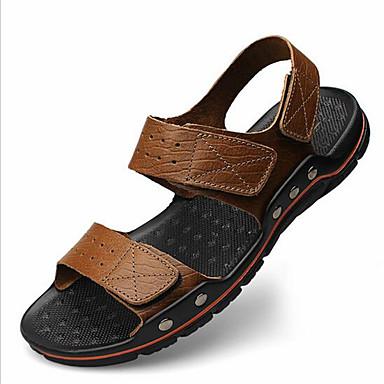 Masculino sapatos PVC Verão Chinelos e flip-flops Laço para Casual Marron Khaki