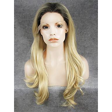 Syntetisk Lace Front Parykker Naturligt, bølget hår Natural Hairline / Mørke hårrødder Blond Dame Blonde Front Carnival Paryk / Halloween