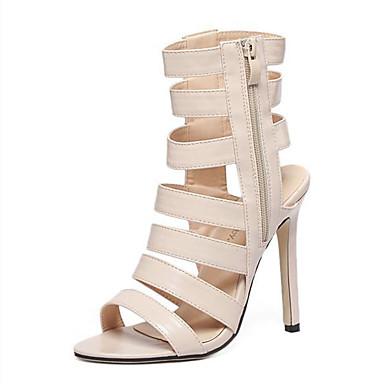 Mulheres Sapatos Couro Ecológico Verão Sandálias Salto Agulha Amêndoa