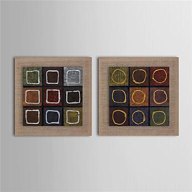 Handgeschilderde Abstract Vierkant, Modern Kangas Hang-geschilderd olieverfschilderij Huisdecoratie Twee panelen