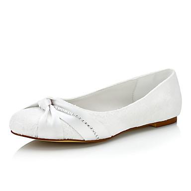 Damen Schuhe Seide Frühling Sommer Komfort Flache Schuhe Flacher Absatz Schnürsenkel für Hochzeit Party & Festivität Kleid Weiß Beige