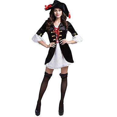 Pirat Cosplay Kostumer Festkostume Dame Jul Halloween Karneval Oktoberfest Nytår Festival / Højtider Halloween Kostumer Sort/Hvid