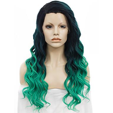 Mulher Perucas sintéticas Frente de Malha Ondulado Verde Peruca com Renda Perucas para Fantasia