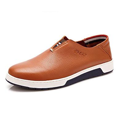 Masculino Sapatos Pele Primavera Verão Outono Inverno Conforto Mocassins e Slip-Ons Rasteiro Para Casual Preto Marron Azul café