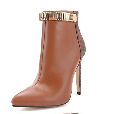 Støvler-Læder-Modestøvler-Dame-Brun-Udendørs Formelt-Stilethæl