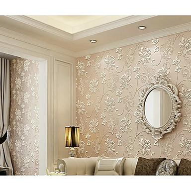 Blomstret 3D Hjem Dekoration Moderne Vægbeklædning, Ikke vævet tekstil Materiale Lim påkrævet Værelse Tapet