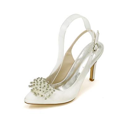 Damen Schuhe Seide Frühling / Sommer High Heels Stöckelabsatz Perle Blau / Champagner / Elfenbein / Hochzeit / Party & Festivität