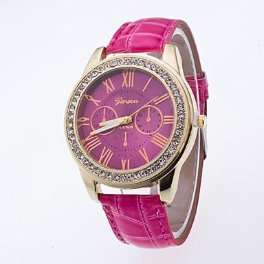 Dames Modieus horloge Polshorloge imitatie Diamond / Kwarts PU Band Vrijetijdsschoenen Zwart Wit Groen roze